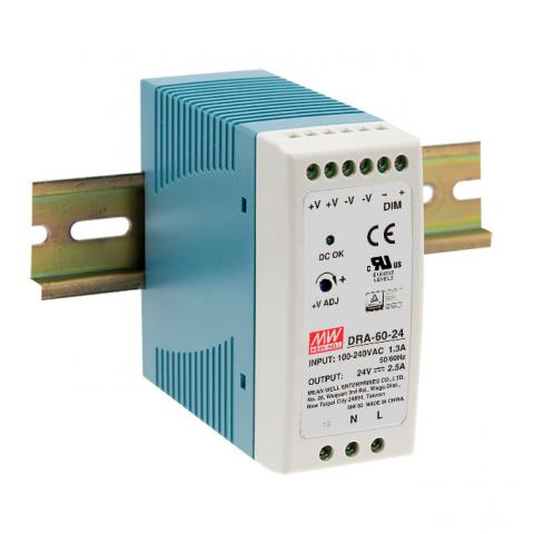 Meanwell 60W programmable DIN Rail power supply